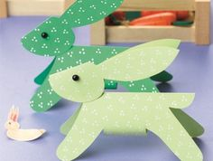 gefaltete Papierhäschen - Bastellanleitung zum Downloaden - folded paper bunnies - template as download in German