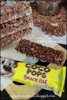 Chocolate Rice Krispies Bars Homemade Almost the same with coco pop snack bar Rice Crispy Bars, Rice Crispy Treats, Chocolate Rice Krispies, Muesli Bars, Granola, Cereal Bars, Breakfast Bars, Brownie Recipes, Coco