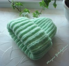 Green knit hat Hat mohair Knitted mohair by WorldBeautifulThings