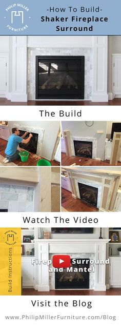 DIY instructions to build a shaker style fireplace surround and mantel. This is a simple, clean and classic design that will work in any living room. # fireplace and mantels, Fireplace Mantel Surrounds, Build A Fireplace, Fireplace Furniture, Home Fireplace, Faux Fireplace, Fireplace Remodel, Fireplace Design, Fireplace Ideas, Cottage Fireplace