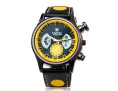 Stylish Yellow Quartz Movement Analog Watch with Faux Leather Strap Wrist Watches for Men  $10.44  #eozy