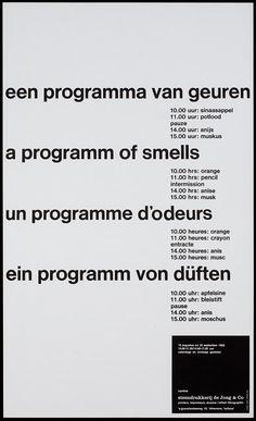 Pieter Brattinga, kantine steendrukkerij de Jong & Co Hilversum 16 augustus tot 22 september 1965 een programma van geuren, 1965