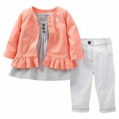 Carter's 3-pc. Seahorse Cardigan Set - Baby
