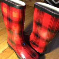 Red Plaid Patterned Rain Boots Red Plaid Pattern rain boots! Worn ONLY once! Good for the coming rainy season Shoes Winter & Rain Boots