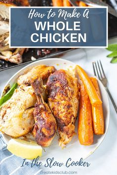 Slow Cooker Whole Chicken - Learn how to make this simple and delicious dinner in no time at all! Cooking a whole chicken sounds intimidating, but it's not with this easy guide. Try it today! #howtocookawholechicken #slowcookerwholechicken #crockpotwholechicken #createkidsclub #wholechickenrecipe Healthy Family Meals, Good Healthy Recipes, Family Recipes, Lunch Recipes, Cooking Whole Chicken, Stuffed Whole Chicken, Slow Cooker Chicken, Best Dry Rub Recipe, Veggie Side Dishes