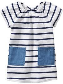 Striped-Pocket Dresses for Baby