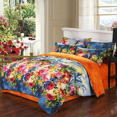 Colorful Printed 100% Organic Cotton Bedding Sets in teal blue, pink red, yellow and orange - EnjoyBedding.com