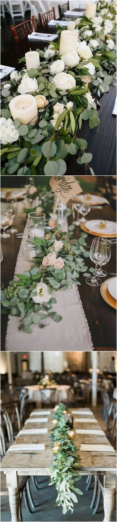 2017 trending elegant wedding centerpiece ideas with white and green floral. Perfect for a greenery wedding theme. Green Wedding Centerpieces, Candle Centerpieces, Wedding Bouquets, Wedding Decorations, Centerpiece Ideas, Tall Centerpiece, Elegant Wedding, Floral Wedding, Rustic Wedding