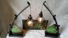 A pair of lamps made from scrap metal