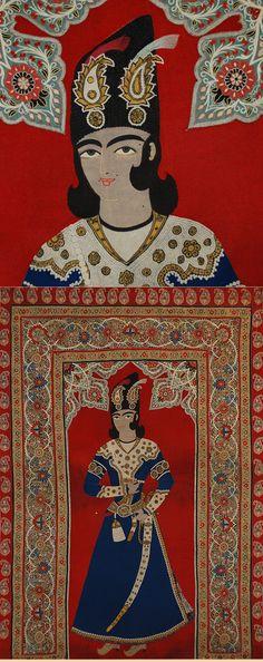Antique Persian Textile. Silk Rashti- Duzi Embroidery on Felt Figure of Qajar Prince Wall Hanging Qajar Dynasty  1795 -1925 A.D Circa 1840