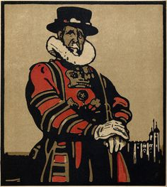 "Beef-eater, Tower of London – ""his beat lies knee-high through a dust of story."", London Types 6, lithography, 1898 // William Nicholson"