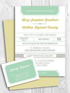 Preppy modern printable wedding invitation