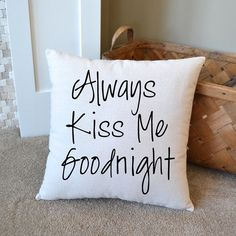 Canvas Pillow Anniversary Gift Kiss Me by NanaNewHandmade on Etsy