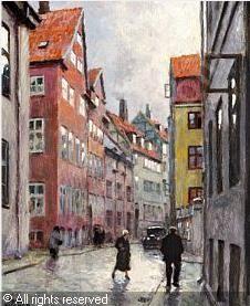 Paul Gustave Fischer (1860-1934): Københavnsk gadeparti en regnvejrsdag