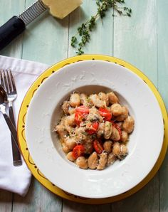 Gnocchi with Grape Tomatoes, Capers, Thyme and Shallots in White Wine Beurré Blanc