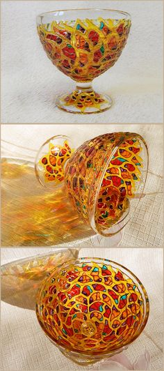 "RichanaDragon ||| Fire Dragon. Glass DESSERT VASE on stem (pedestal bowl) with relief surface, decorated with ""abstract Dragon"" pattern in red and yellow colors. Fantasy glass bowl candle holder for night decor. Hand painted stained glass 