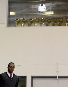 Dwight Howard and Lakers trophies