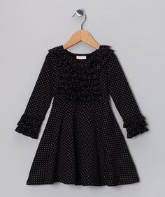 Black Polka Dot Ruffle Tie-Back Swing Dress