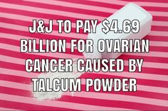 Johnson & Johnson will pay $4.69 billion in damages to 22 women who were diagnosed with ovarian cancer after using the company's talcum powder products. Product Liability, Johnson And Johnson, Baby Powder, Cancer, Women, Products, Gadget, Woman