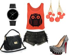 """""""Shorts Outfit 54"""" by emikab on Polyvore. I love owls & I love shorts & I love everything about this outfit...the colors & shoes & accessories ...perfect for my beach life"""