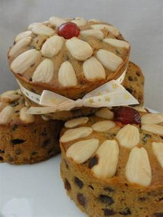 330gram Christmas Fruitcakes  So cute!! These three Individually handmade, delightfully sized cakes, have been made with fruit and nuts carefully sourced from Victoria. Fruit is soaked for a week in 'Malmsey', a fortified wine from Buller Wines in Swan Hill.