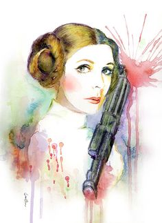 Watercolor Portrait Painting - Star Wars Princess Leia - Art Print on Etsy, $18.00