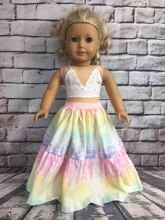Excited to share this item from my shop: American Girl Rainbow Maxi Skirt Outfit American Girl Doll Costumes, Custom American Girl Dolls, American Girl Dress, American Girl Clothes, American Girl Crafts, Doll Fancy Dress, Diy Maxi Skirt, American Girl Accessories, Handmade Skirts