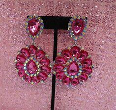 Fushia Pink Crystal Chandelier Earrings Clip On by beaqueenbee on Etsy Pageant Earrings, Chandelier Earrings, Drop Earrings, Fushia Pink, Austrian Crystal, Cali, Swarovski Crystals, Jewelery, Sparkle