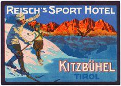 Vintage Hotels, Vintage Ski, Vintage Winter, Vintage Travel Posters, Vintage Luggage, Hotel Logo, Ski Posters, Travel Ads, Ski Vacation