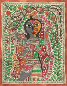 Madhubani Ardhanarishvara Painting Handmade Indian Tribal Mithila Bihar Folk Art