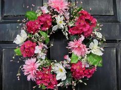 Mothers Day Gift - Spring Wreath - Pink Hydrangea Floral Wreath - Summer Wreath - Primitive Wreath - Primitive Country Home. $42.95, via Etsy.