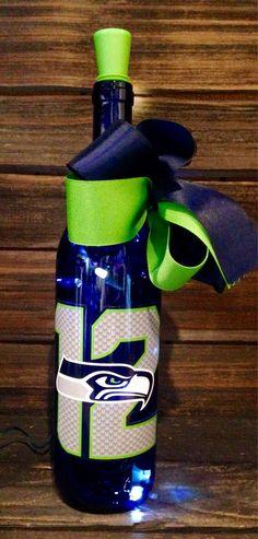Seattle Seahawks 12th Man Lighted Wine Bottle by BottlesbyJanice