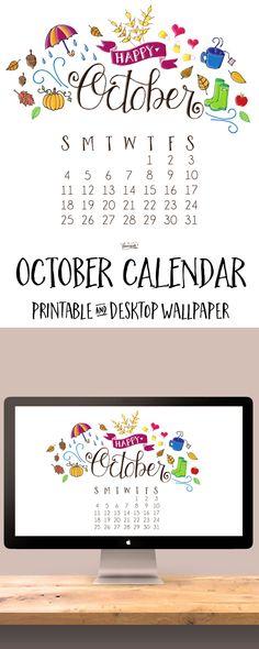 Free Print of the Week: Hand-Lettered & Illustrated October Calendar Print + Desktop Wallpaper | Dawn Nicole Designs