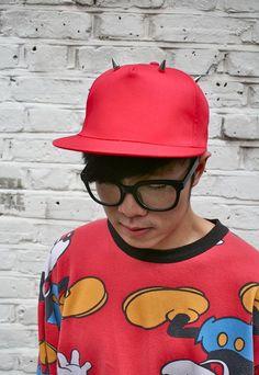 Red Studded Crown Flat Brim Hat | Burger | ASOS Marketplace