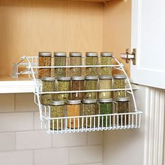 Color:White The Rubbermaid Spice Rack has a pull-down design that gives you visibility to see all your spices. The Rubbermaid Spice Rack has a pull-down design that gives you visibility to see all your spices. Cabinet Spice Rack, Spice Storage, Spice Organization, Room Organization, Storage Rack, Cutlery Storage, Rack Shelf, Bathroom Organisation, Organizing Ideas