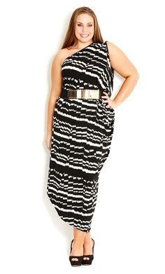 City Chic - PRINTED ONE SHOULDER DRESS - Women's plus size fashion
