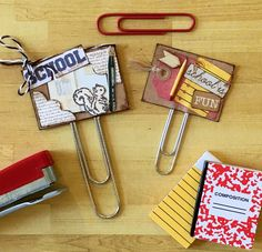 Custom School Themed Planner Clips Paper Embellishments Paper a lips by Jackie Benedict School Scrapbook, Scrapbook Paper, Scrapbooking, Paperclip Crafts, Handmade Scrapbook, Candy Cards, Pocket Letters, Scrapbook Embellishments, Paper Clip