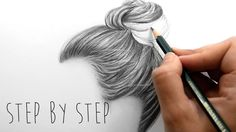 Step by Step | How to draw shade realistic hair bun with pencils | Emmy ...