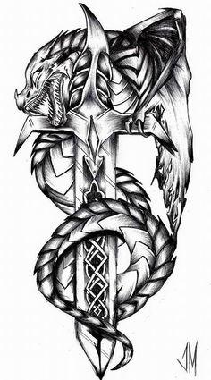 Broadsword by jessclamationmarrrk dragon tattoo designs - Broadsword by jesscla. - Broadsword by jessclamationmarrrk dragon tattoo designs – Broadsword by jessclamationmarrrk drag - Dragon Tattoo Art, Tribal Dragon Tattoos, Celtic Dragon Tattoos, Chinese Dragon Tattoos, Dragon Artwork, Dragon Tattoo Designs, Viking Tattoos, Simbols Tattoo, Sword Tattoo