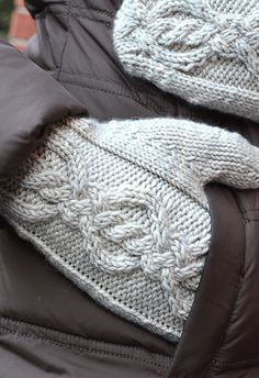 Aberdeen Ave Mitts by @Glenna C: knitted in Tanis Fiber Arts in Green Label Aran Weight in 'Shadow'