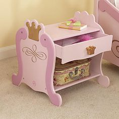 KidKraft Princess Toddler Table: From its rounded feet to metallic crown accents, this dainty pink nightstand radiates princess-worthy charm. But it offers practical storage, too, with handy tabletop, pullout drawer, and bottom display shelf. Sturdy KidKraft® bedroom furniture; constructed of wood and MDF...