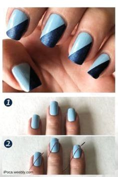 Easy blue nail art design. Easy step by step tutorial. Using ciate and nyc nail polish and striper tape. Simple nail art for beginners! Nail Art Hacks, Nail Art Diy, Easy Nail Art, Cool Nail Art, Nail Art At Home, Acrylic Nail Art, Diy Art, Nail Art Stripes, Striped Nails