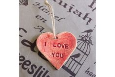 Handmade Ceramic Gift Tag - I Love You by Flower Tree Art & Ceramics