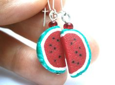 Food jewelry/Watermelon earrings/Food earrings/Polymer clay miniatures/Polymer clay  food