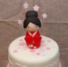 see works in progress and details of completed works. anything is possible with sugar! Chinese Cake, Japanese Cake, Debut Cake, Japanese Birthday, Cupcakes, Kokeshi Dolls, Diy Cake, Plated Desserts, Cakes And More