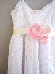 Romantic Sash in Pink & Ivory Roses Satin Flowers by priya123, $35.00