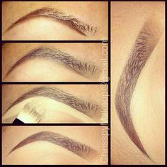 drugstoreprincess:  chrisspymakeup: 1.) I start by underlining my brows with MAC Fluidline in Dipdown, which  is a gel liner, but you can use a brow pencil for this step too!2.) Next, I shade lower half with a medium brown brow powder then fill in the rest with a lighter brown shading towards the front3.) Then I use a flat brush and concealer to carve out the shape of the brow4.) Make sure you blend it in with your foundation! You can also set it with a translucent powder if your feeling…
