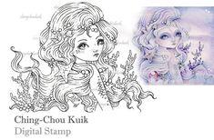 Abrazar el océano - descarga inmediata de sello Digital / concha Coral perla sirena hada chica fantasía arte por Ching-Chou Kuik