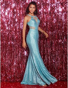 cc97ef9fb6d   179.99  Mermaid   Trumpet Jewel Neck Floor Length Sequined Prom   Formal Evening  Dress with Criss Cross by TS Couture®   See Through