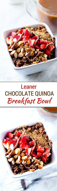 Leaner Chocolate Quinoa Breakfast Bowl - This amazing quinoa breakfast bowl is the perfect healthy way to start your day! #ad